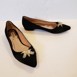 Badgley Mischka | black suede diamond flats